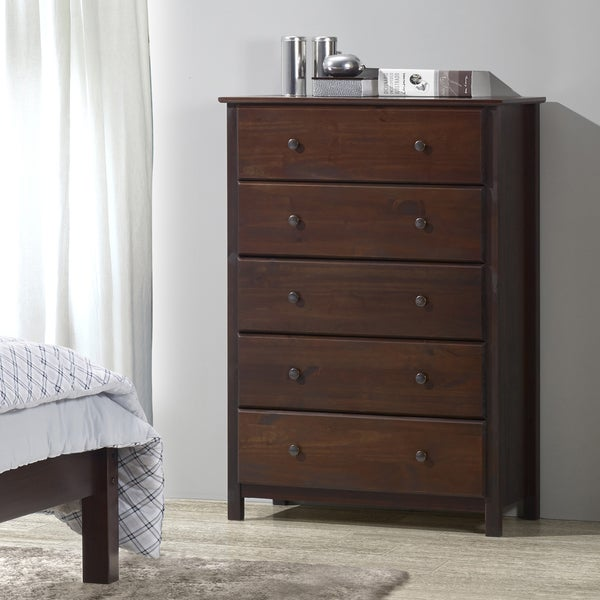 Grain Wood Furniture Shaker Solid Wood Cherry Finish 5 Drawer Chest