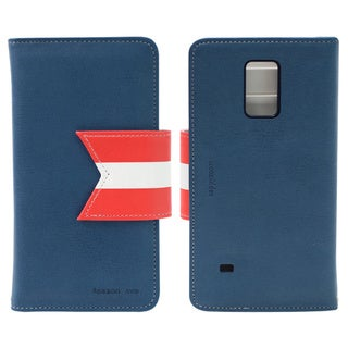 HAPPYMORI Reason Ave. Navy Faux Leather Phone Case for Samsung Galaxy Note 4
