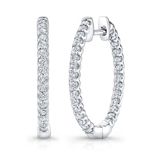 Platinum over Silver 2ct TDW Diamond Hoop Earrings (H-I, I1-I2)