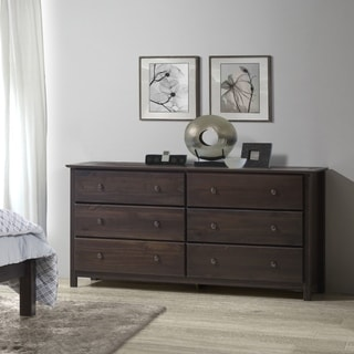 Espresso Finish Solid Pine Shaker 6-drawer Dresser