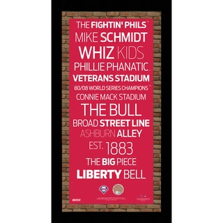 Philadelphia Phillies Subway Sign 9.5x19 Frame w/ auth Dirt from Citizens Bank