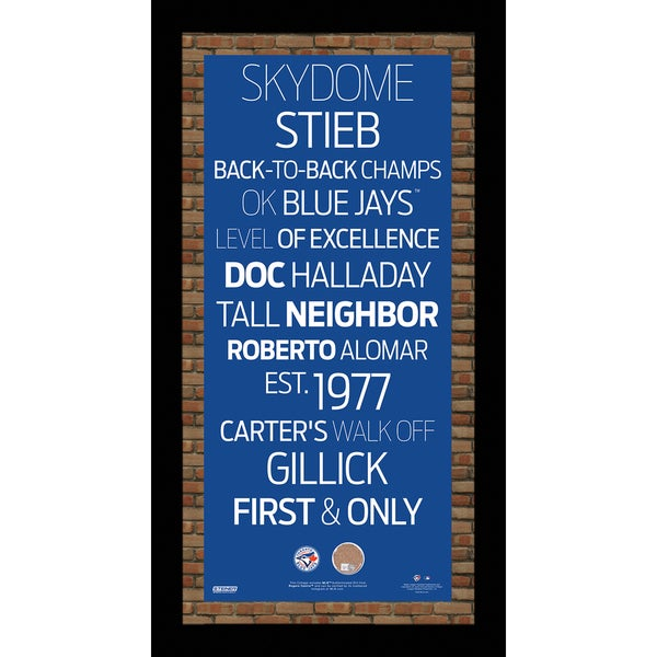 Toronto Blue Jays Subway Sign Wall Art 9.5x19 Frame w/ Authentic Dirt from the Rogers Centre