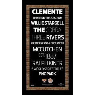 Pittsburgh Pirates Subway Sign 9.5x19 Frame w/ auth Dirt from PNC Park