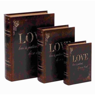 Wooden / Leather Book Box with Neat Lines - Set of 3