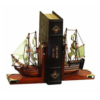 Wood Trade Ship Nautical Coastal Book Ends