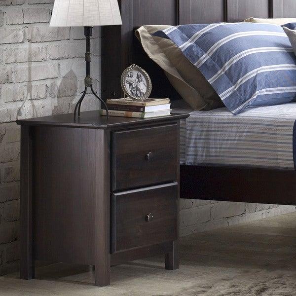 Grain Wood Furniture Shaker 2 Drawer Espresso Solid Wood Nightstand