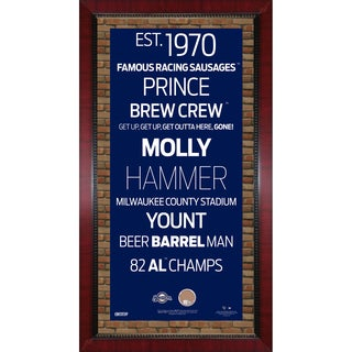 Milwaukee Brewers Subway Sign Wall Art 16x32 Frame w/ Authentic Dirt from Miller Park