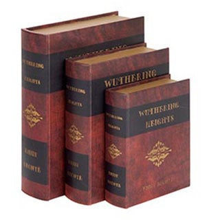 Wooden Leather 3-piece Book Box Set