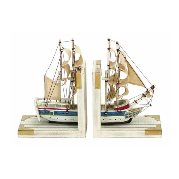 Nautical Coastal Book Ends As a White Trade Ship