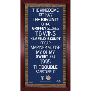 Seattle Mariners Subway Sign 16x32 Frame w/ auth Dirt from Safeco Field