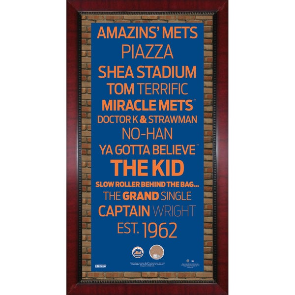 New York Mets Subway Sign 16x32 Frame w/ auth Dirt from Citi Field.