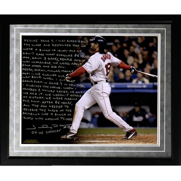 Johnny Damon Facsimile 'Reverse the Curse' Framed Metallic 16x20 Story Photo