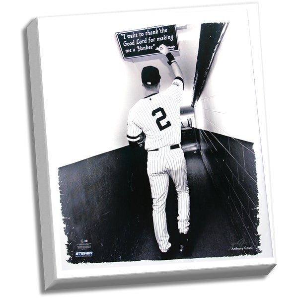 Derek Jeter Tunnel Right Hand Touching Quote Stretched 22x26 Canvas (Signed by Anthony Causi)
