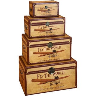 Decorative Wood Storage Trunk (Set of 4)