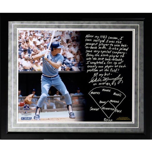 Dale Murphy Facsimile 'Back-to-Back MVPs' Framed Metallic 16x20 Story Photo