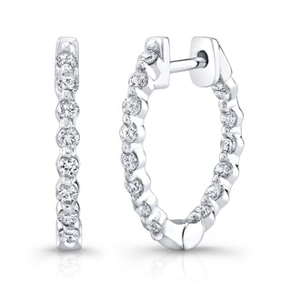 Platinum over Silver 1ct TDW Diamond Hoop Earrings (H-I, I1-I2)