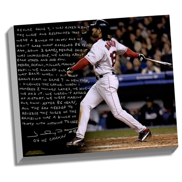Johnny Damon Facsimile 'Reverse the Curse' Stretched 22x26 Story Canvas