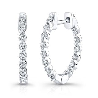 Platinum over Silver 3/4ct TDW Diamond Hoop Earrings (H-I, I1-I2)