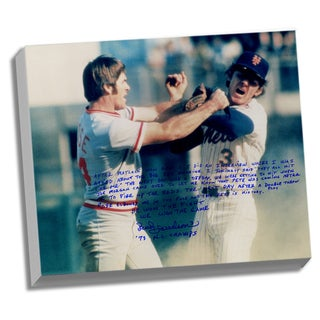 Bud Harrelson Facsimile 'Fighting Rose' Stretched 22x26 Story Canvas