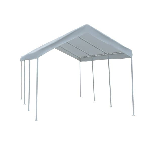 Abba Patio 10 x 20-Foot Outdoor Car Canopy with 1.5-inch Steel Legs and White Cover
