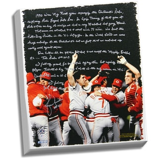 Lou Piniella Facsimile 'Reds World Series' Stretched 22x26 Story Canvas