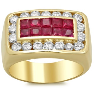 14k Yellow Gold Men's Ruby and 1 3/4ct TDW Diamond Ring (F-G, SI1-SI2)