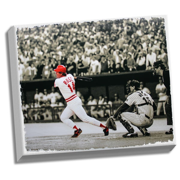 Pete Rose Record Breaker Hit vs Padres 32x40 Stretched Canvas