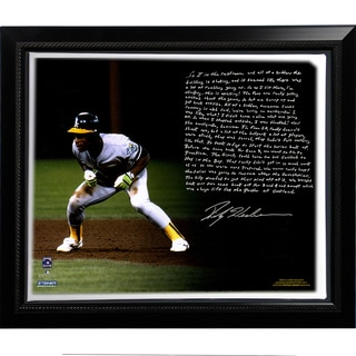 Rickey Henderson Facsimile 'World Series Earthquake' Story Stretched Framed 22x26 Canvas