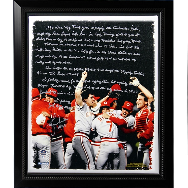Lou Piniella Facsimile 'Reds World Series' Story Stretched Framed 22x26 Story Canvas