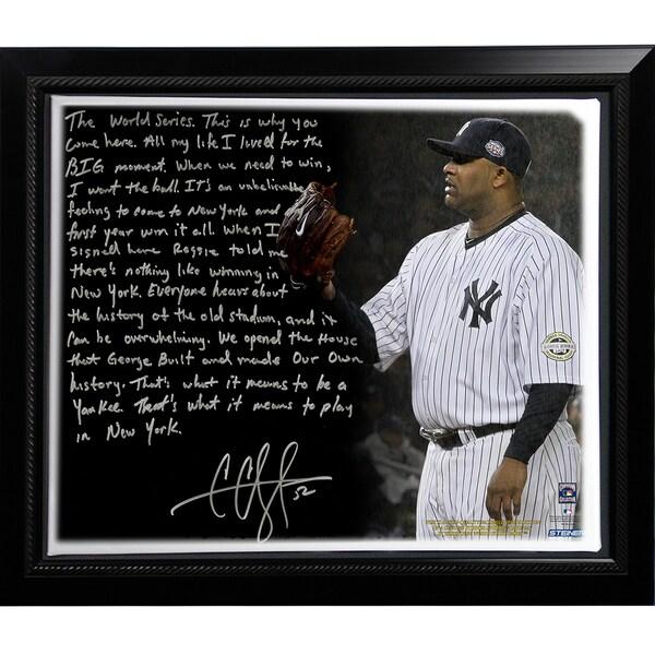 CC Sabathia Facsimile 'Winning in New York' Story Stretched Framed 22x26 Canvas