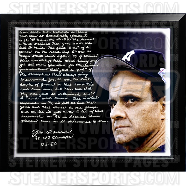 Joe Torre Facsimile '1998 Team of the Century' Framed Stretched 22x26 Story Canvas