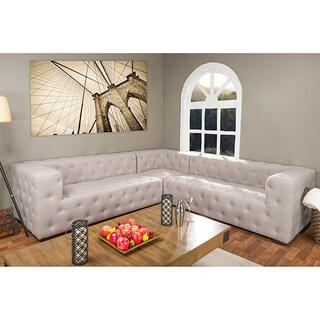 Verdicchio Wood and Linen Sectional Sofa