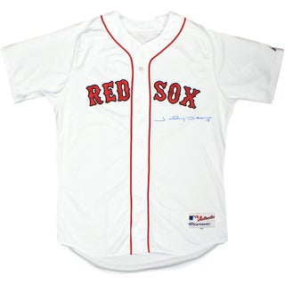 Johnny Damon White Red Sox Jersey Signed on Front in Blue