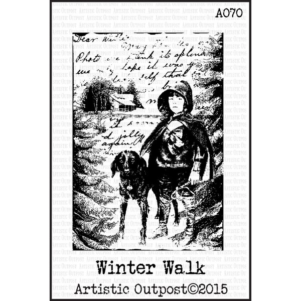 "Artistic Outpost Cling Stamps 3.75""X6""-Winter Walk"