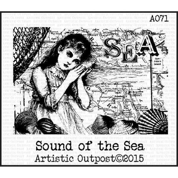 "Artistic Outpost Cling Stamps 5""X5""-Sound Of The Sea"