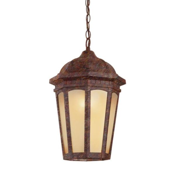 Cambridge 1-Light Rust 14 in. Outdoor Hanging Lantern with Tea Stain Glass 15154225
