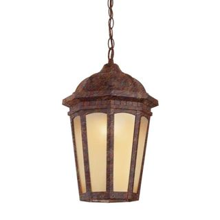 Cambridge 1-Light Rust 14 in. Outdoor Hanging Lantern with Tea Stain Glass