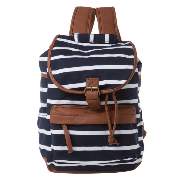 Madden Girl Navy Stripe Jersey Backpack