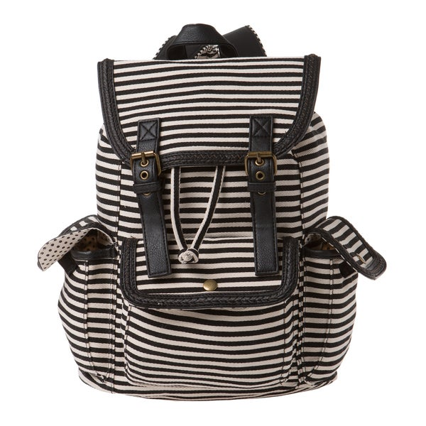 Madden Girl Black Canvas Stripe Backpack