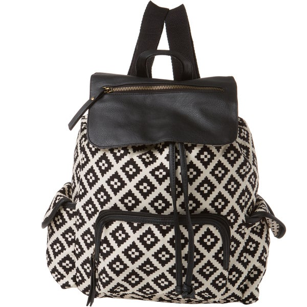 Madden Girl Black White Diamond Backpack