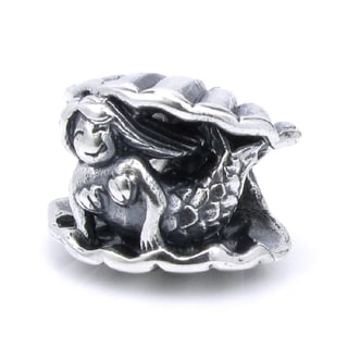 Queenberry Sterling Silver Smiley Mermaid in Clam Sea Shell European Bead Charm