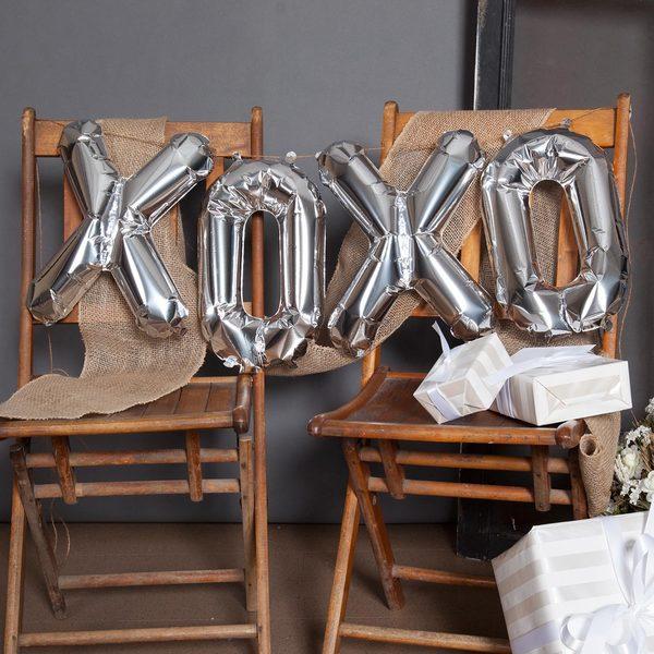 "16"" XOXO Balloon Kit, Silver"