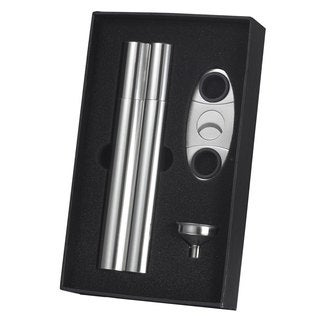 Visol Paramount Cigar Case Flask Combo Gift Set With Cigar Cutter & Funnel