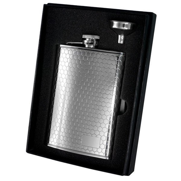 Visol Hive Beehive Pattern Stainless Steel Liquor Flask Gift Set - 8 ounces