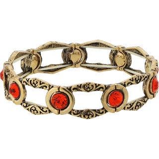 1928 Jewelry Exotic Goldtone Orange Tangerine Stone Stretch Bracelet