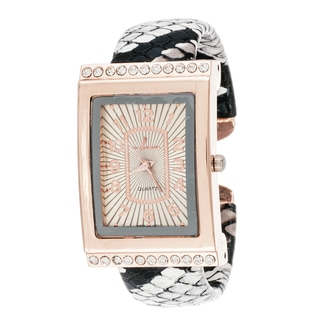 Via Nova Women's Cubic Zirconia Goldtone Case White Bangle Watch