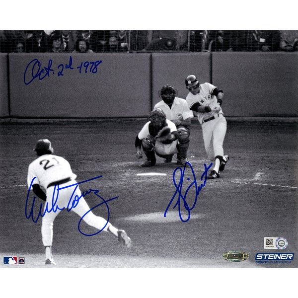 "Bucky Dent/ Mike Torrez Dual Signed 1978 Home Run 8x10 Photo w/ ""Oct-2-1978"" insc by Torrez (MLB Auth)"