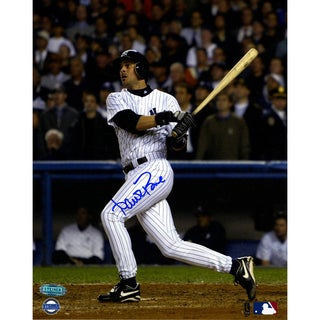 Aaron Boone 2003 ALCS GW HR vs Red Sox Swing 8x10 Vertical Photo ( Signed In Blue)