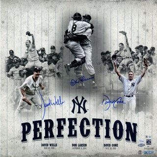 New York Yankees 'Perfection' David Cone, Don Larsen, & David Wells Triple Signed Perfect Game 20x20 Collage LE/99 (MLB Auth)