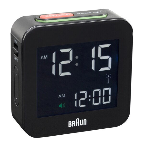 Braun Digital LCD Black Global Radio Controlled Alarm Clock